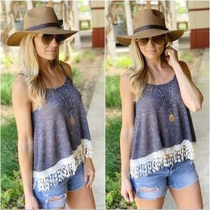 Navy Lace Trim Tank